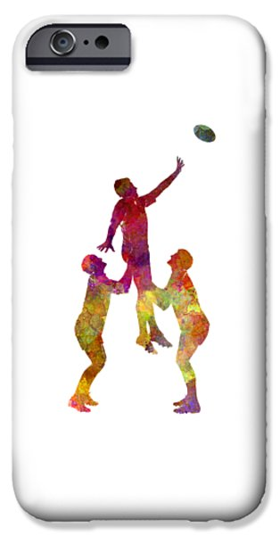 Rugby Men Players 01 In Watercolor IPhone Case by Pablo Romero