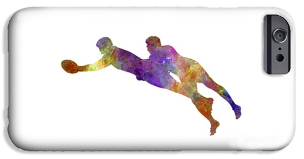 Rugby Men Players 03 In Watercolor IPhone Case by Pablo Romero