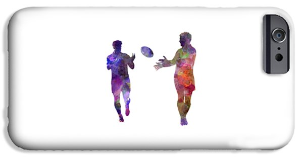 Rugby Men Players 04 In Watercolor IPhone Case by Pablo Romero