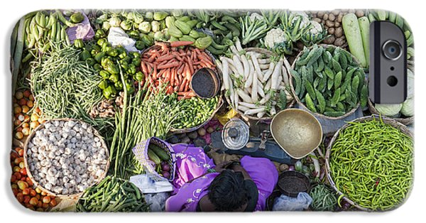Rural Indian Vegetable Market IPhone Case by Tim Gainey