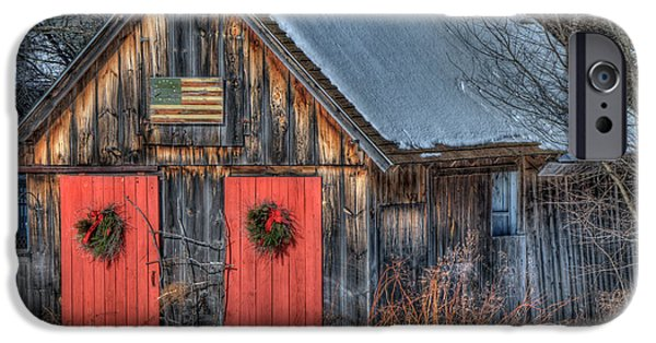 Rustic Barn With Flag In Snow IPhone Case by Joann Vitali