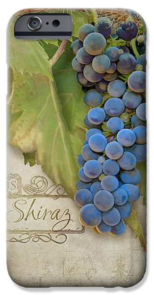 Rustic Vineyard - Shiraz Wine Grapes Over Stone IPhone Case by Audrey Jeanne Roberts