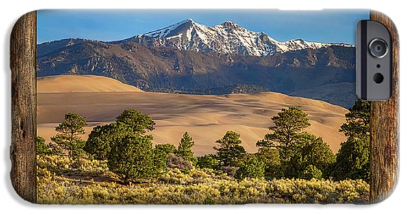 Rustic Wood Window Colorado Great Sand Dunes View IPhone Case by James BO Insogna