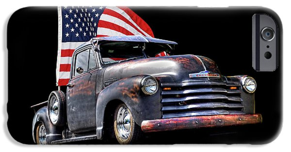 Rusty 1951 Chevy Truck With Us Flag IPhone Case by Gill Billington