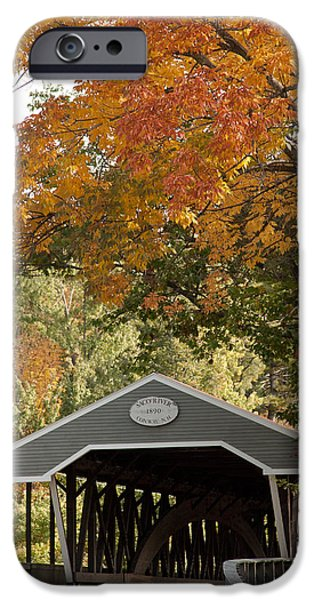 Saco River Covered Bridge Under Fall Foliage IPhone Case by Jeff Folger