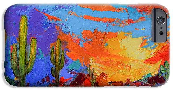 Saguaros Land Sunset IPhone Case by Elise Palmigiani