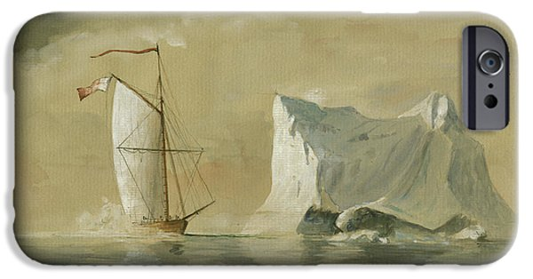 Sail Ship At The Ice IPhone Case by Juan Bosco