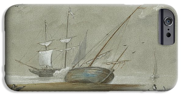 Sail Ships And Fishing Boats IPhone Case by Juan Bosco