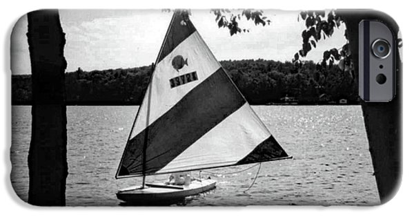 Sailing On Lake Dunmore Black And White IPhone Case by Sandy Taylor