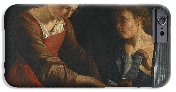 Saint Cecilia With An Angel IPhone Case by Orazio Gentileschi