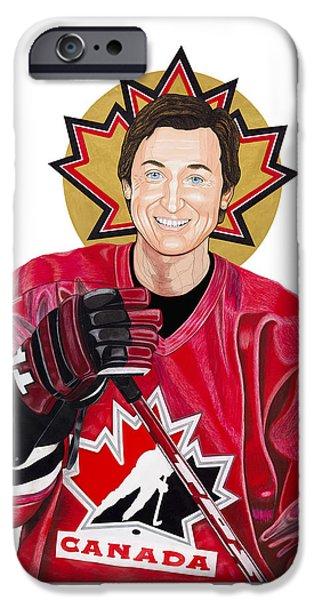 Saint Gretzky Halo Cutout IPhone Case by Steven Hart