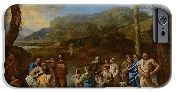 Saint John Baptizing In The River Jordan IPhone Case by Nicolas Poussin