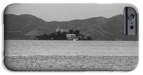 San Francisco - Alcatraz Island Bw IPhone Case by Frank Romeo