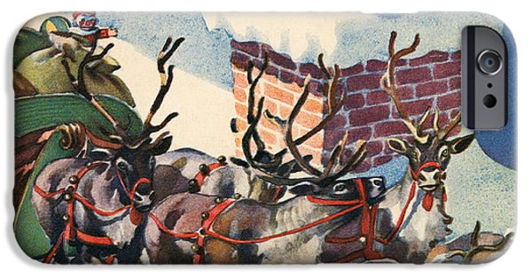 Santa Going Down A Chimney On Christmas Eve IPhone Case by American School