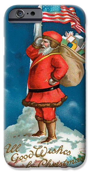 Santa Standing On The Globe IPhone Case by American School