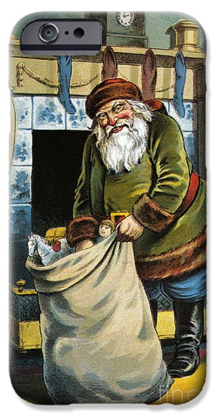 Santa Unpacks His Bag Of Toys On Christmas Eve IPhone Case by William Roger Snow