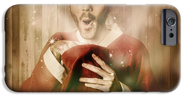 Santa With Surprise Christmas Gift Bag IPhone Case by Jorgo Photography - Wall Art Gallery