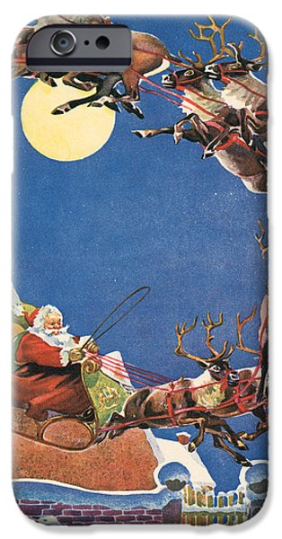 Santa's Sleigh And Reindeer Flying In The Night Sky On Christmas Eve IPhone Case by American School
