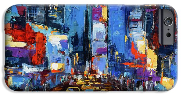 Saturday Night In Times Square IPhone Case by Elise Palmigiani