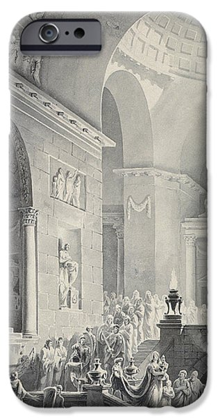 Scene In A Classical Temple  Funeral Procession Of A Warrior IPhone Case by Joseph Charles Barrow