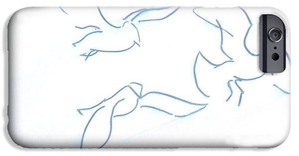 Seagulls Line Illustration IPhone Case by Mike Jory