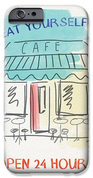 Seat Yourself Cafe- Art By Linda Woods IPhone Case by Linda Woods