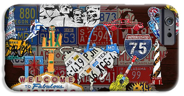 See The Usa Vintage Travel Map Recycled License Plate Art Of American Landmarks IPhone Case by Design Turnpike