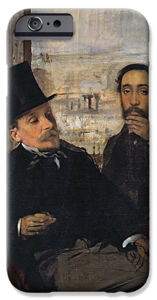 Self Portrait With Evariste De Valernes IPhone Case by Edgar Degas