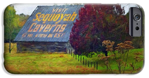 Sequoyah Caverns Sign Old Barn IPhone Case by Rebecca Korpita