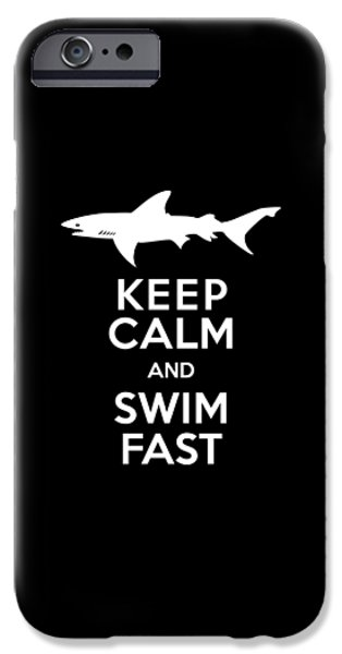 Shark Keep Calm And Swim Fast IPhone 6s Case by Antique Images
