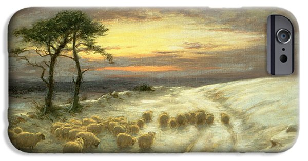Sheep In The Snow IPhone Case by Joseph Farquharson
