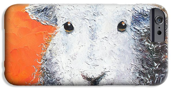 Sheep Painting On Orange Background IPhone 6s Case by Jan Matson