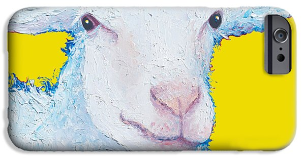 Sheep Painting On Yellow Background IPhone 6s Case by Jan Matson