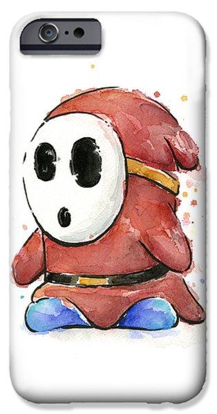 Shy Guy Watercolor IPhone Case by Olga Shvartsur
