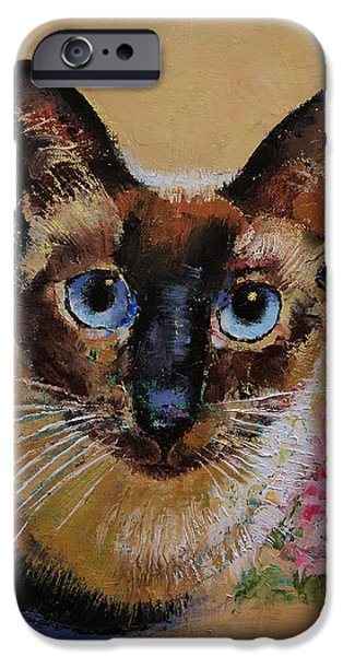 Siamese Cat IPhone Case by Michael Creese