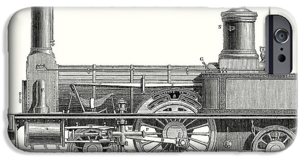 Sideview Of An Old Fashioned Locomotive Showing The Mechanism Of The Engine IPhone Case by English School
