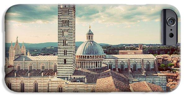 Siena, Italy Panorama City View. Siena Cathedral, Duomo Di Siena. Vintage IPhone Case by Michal Bednarek