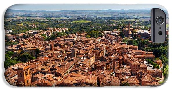 Siena, Italy Panoramic Rooftop City View IPhone Case by Michal Bednarek