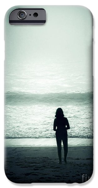 Silhouette On The Beach IPhone Case by Carlos Caetano