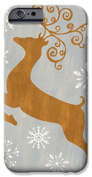 Silver Gold Reindeer IPhone Case by Debbie DeWitt
