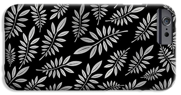 Silver Leaf Pattern 2 IPhone Case by Stanley Wong