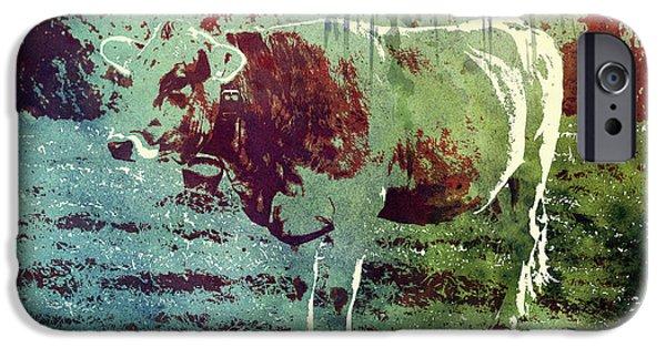 Single Cow IPhone Case by Jutta Maria Pusl