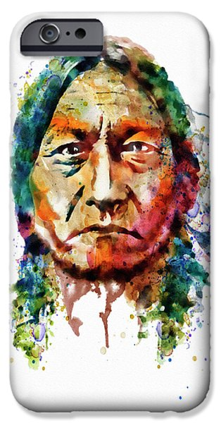 Sitting Bull Watercolor Painting IPhone Case by Marian Voicu