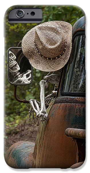 Skeleton Crew - Skeleton Driving A Vintage Truck IPhone Case by Mitch Spence