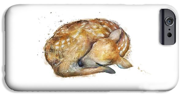 Sleeping Fawn IPhone Case by Amy Hamilton