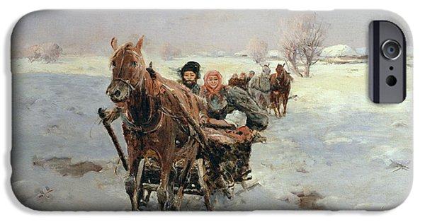 Sleighs In A Winter Landscape IPhone Case by Janina Konarsky
