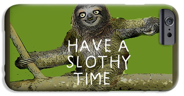 Slothy Time IPhone Case by Rene Lopez