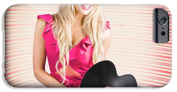 Smiling Dj Woman In Love With Retro Music IPhone Case by Jorgo Photography - Wall Art Gallery
