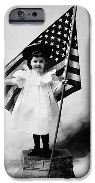 Smiling Little Girl With Us Flag IPhone Case by H. Armstrong Roberts/ClassicStock