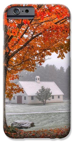 Snow Dust Over Autumn Foliage IPhone Case by Joann Vitali